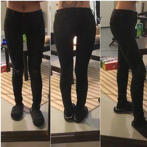 Empyre Tessa Black Storm Destroyed Skinny Jeans 0